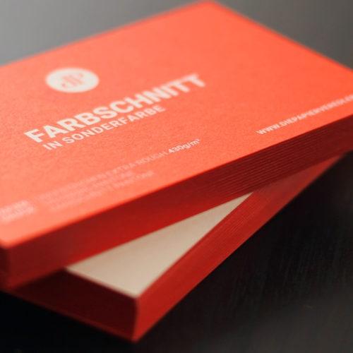 Veredelte Visitenkarten mit Farbschnitt in Sonderfarbe - Druckerei Berlin Brandenburg