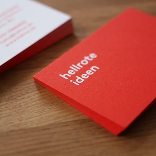 Visitenkarten mit Farbschnitt in Pantone rot