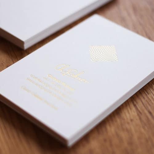 Visitenkarten weiß Metapaper mit Folienprägung Champagner metallic matt