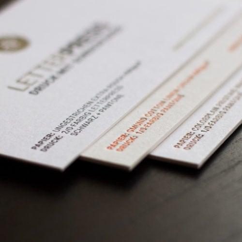 Visitenkarten mit Letterpress in mehreren Grammaturen