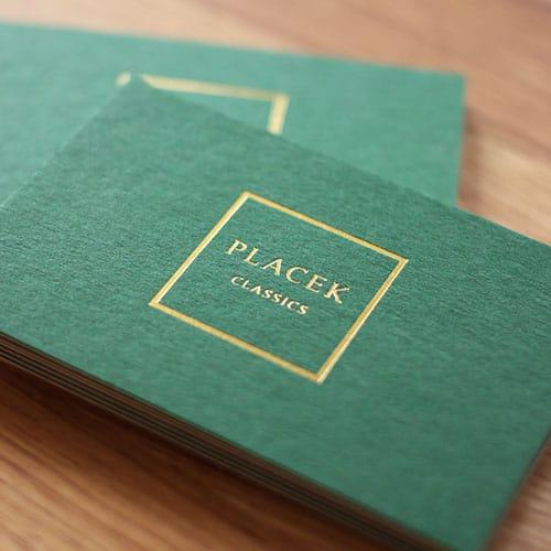 Visitenkarten kaschiert mit Heißfolienprägung gold metallic