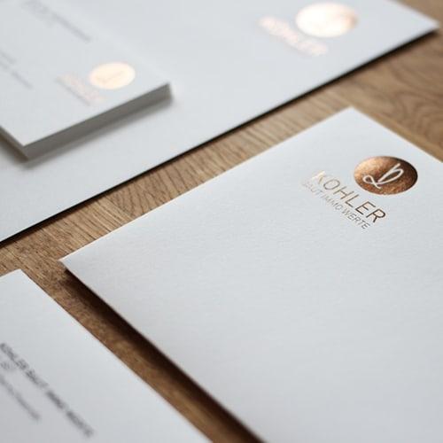 Heißfolienprägung Set Visitenkarten und Briefpapier goldbraun metallic