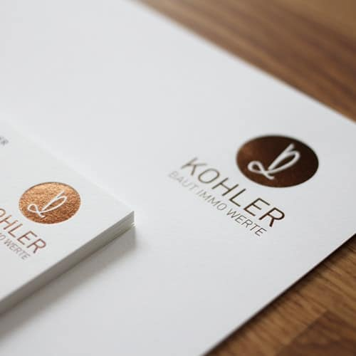 Set Visitenkarten und Briefpapier mit Folienprägung goldbraun metallic
