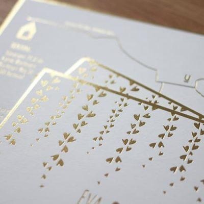 Hochzeitskarten Einladungskarten mit Heißfolienprägung im A6 Format