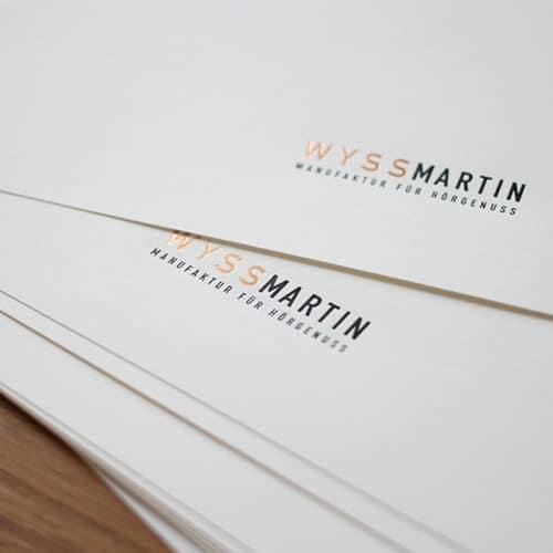 Briefpapier mit Folienpraegung in Kupfer und schwarz