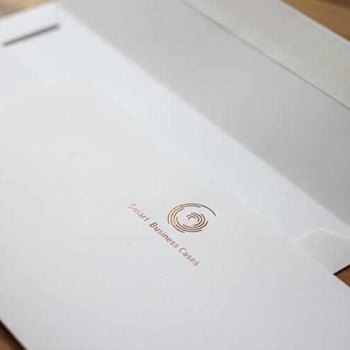 Businessset mit Folienprägung in LUXOR 355 Kupfer Rósegold