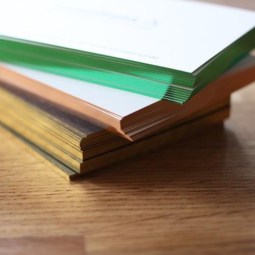 Folienschnitt Visitenkarten grün metallic kupfer gold