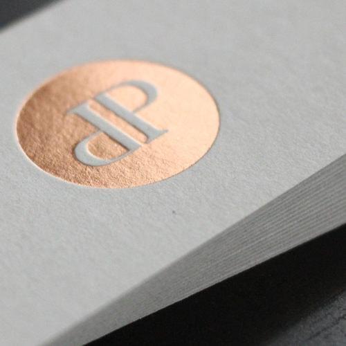 Colorplan Graukarton Visitenkarten mit Folienprägung kupfer roségold
