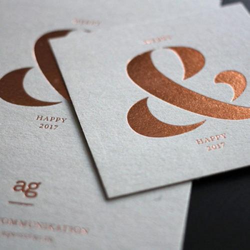 Graukarton Karten mit Heißfolienprägung roségold