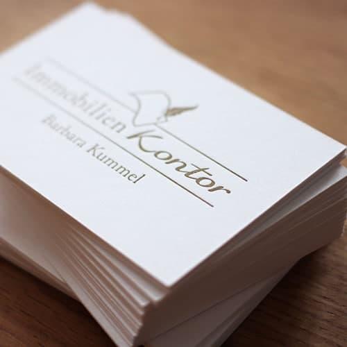 Letterpress Visitenkarten auf Colorplan Pristine white mit Sonderfarbe