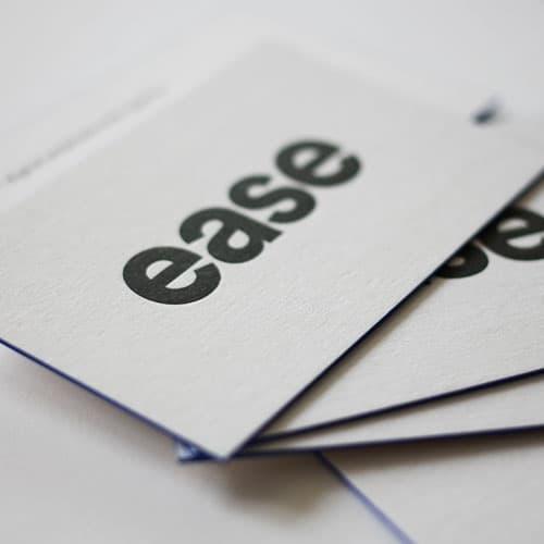 Letterpress Visitenkarten auf kaschiertem Papier