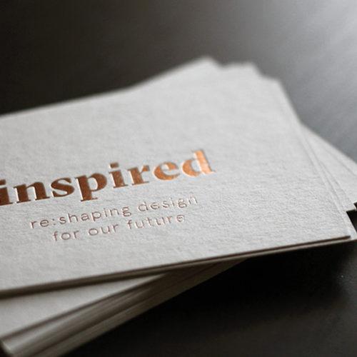Graupappe Visitenkarten Karten mit Folienprägung metallic