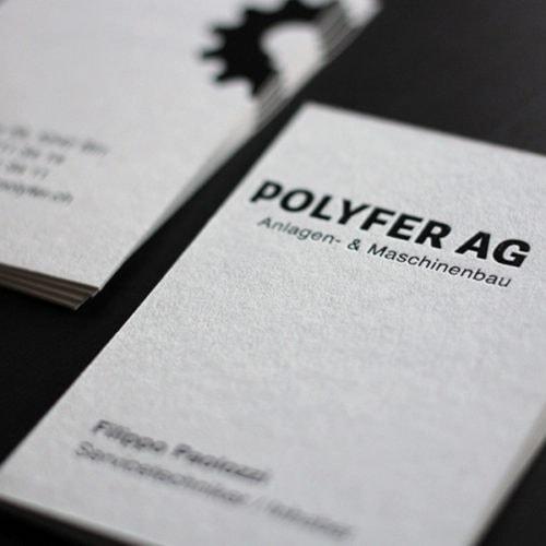Pale Grey Colorplan Visitenkarten mit schwarz Prägung glänzend