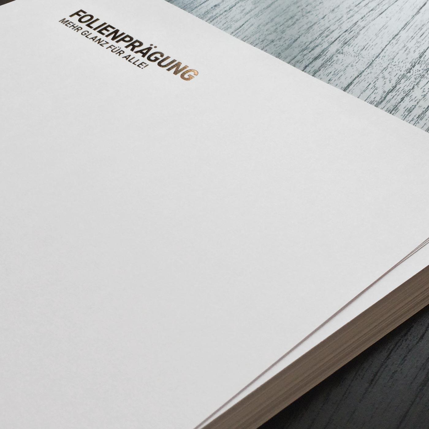 Briefpapiere mit Folienprägung kupfer metallic