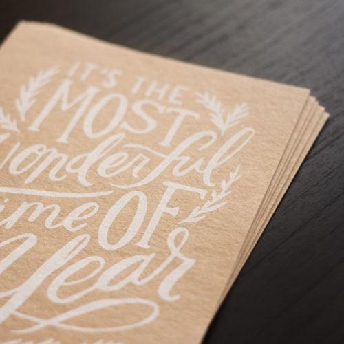 weiß bedruckte durchgefärbte Altpapier Karten