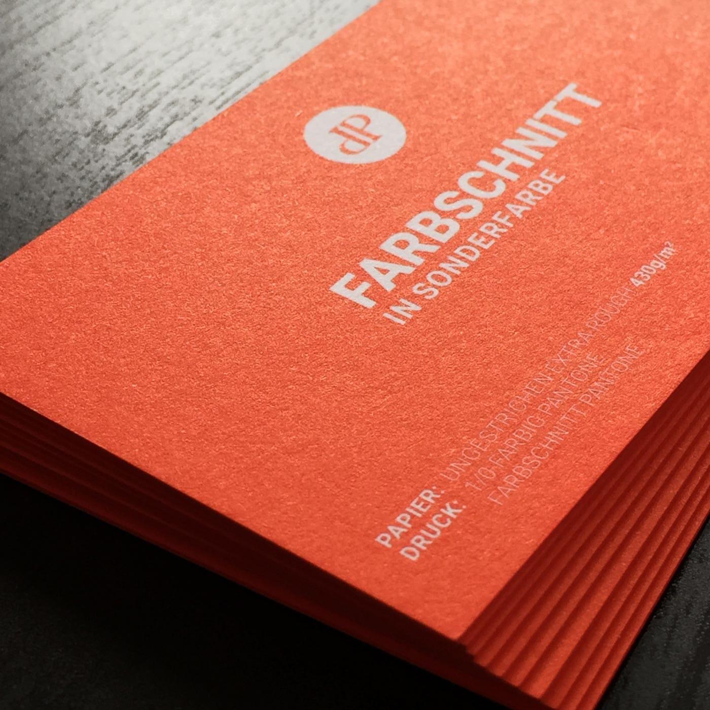 Visitenkarten mit Farbschnitt Sonderfarbe Pantone oder HKS