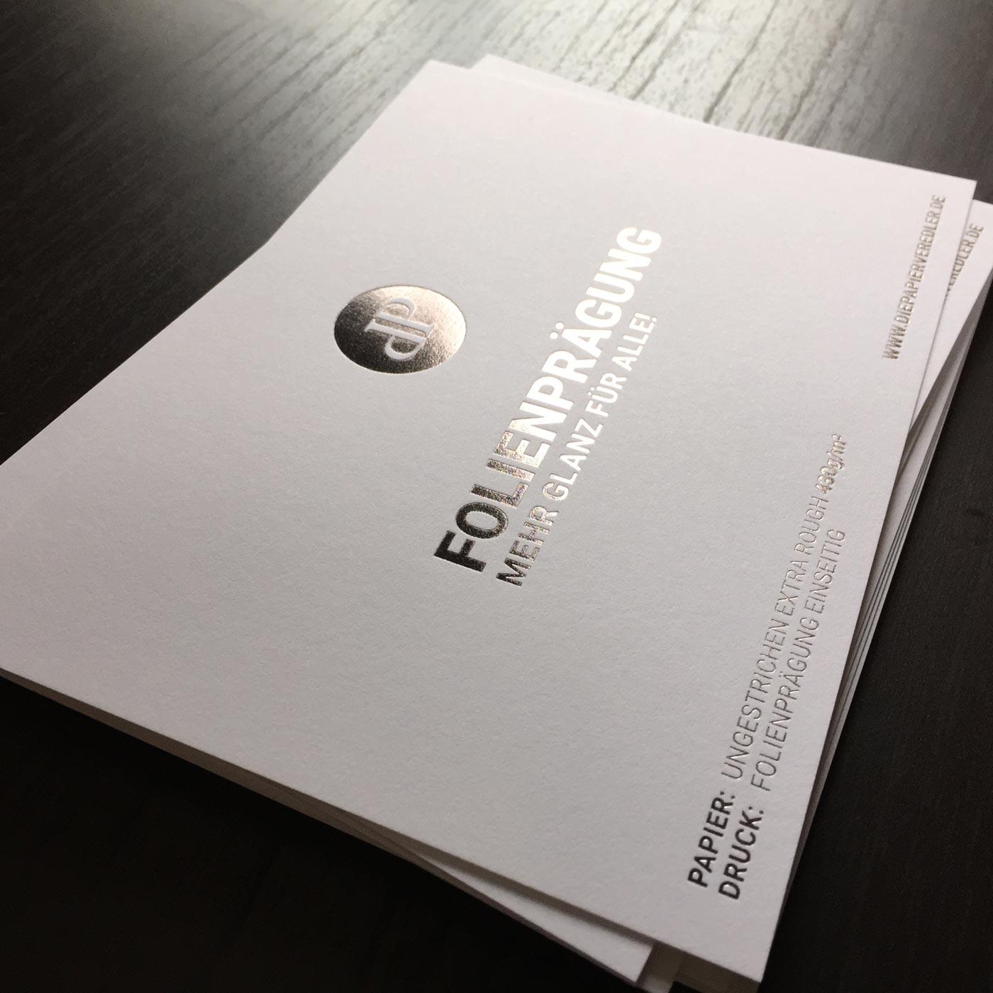 Karten mit Folienprägung silber graphit metallic