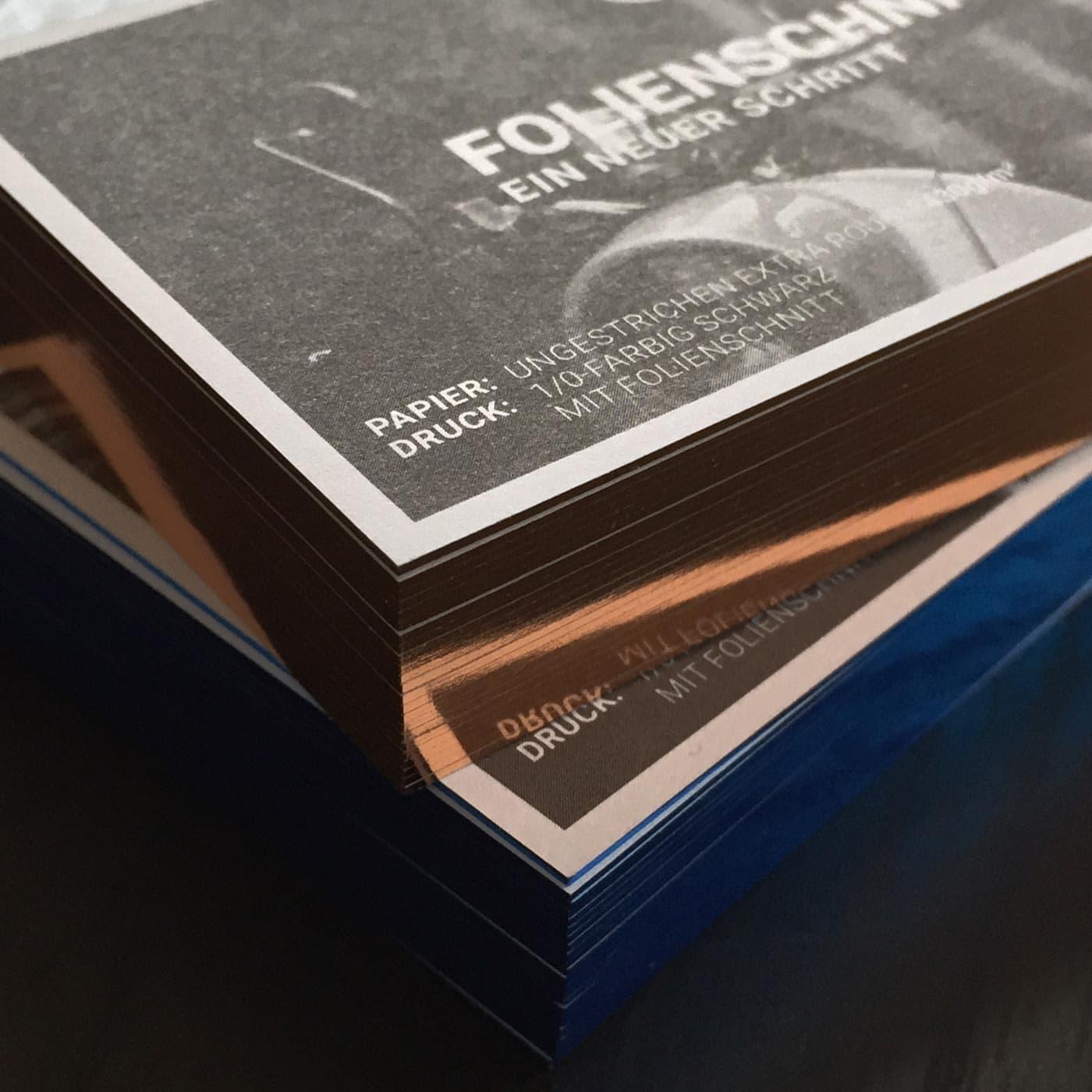 Visitenkarten mit Folienfarbschnitt metallic