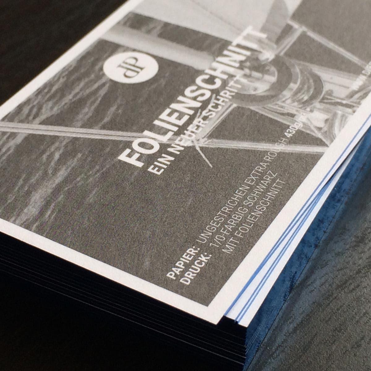 Visitenkarten Karten mit Folienschnitt metallic