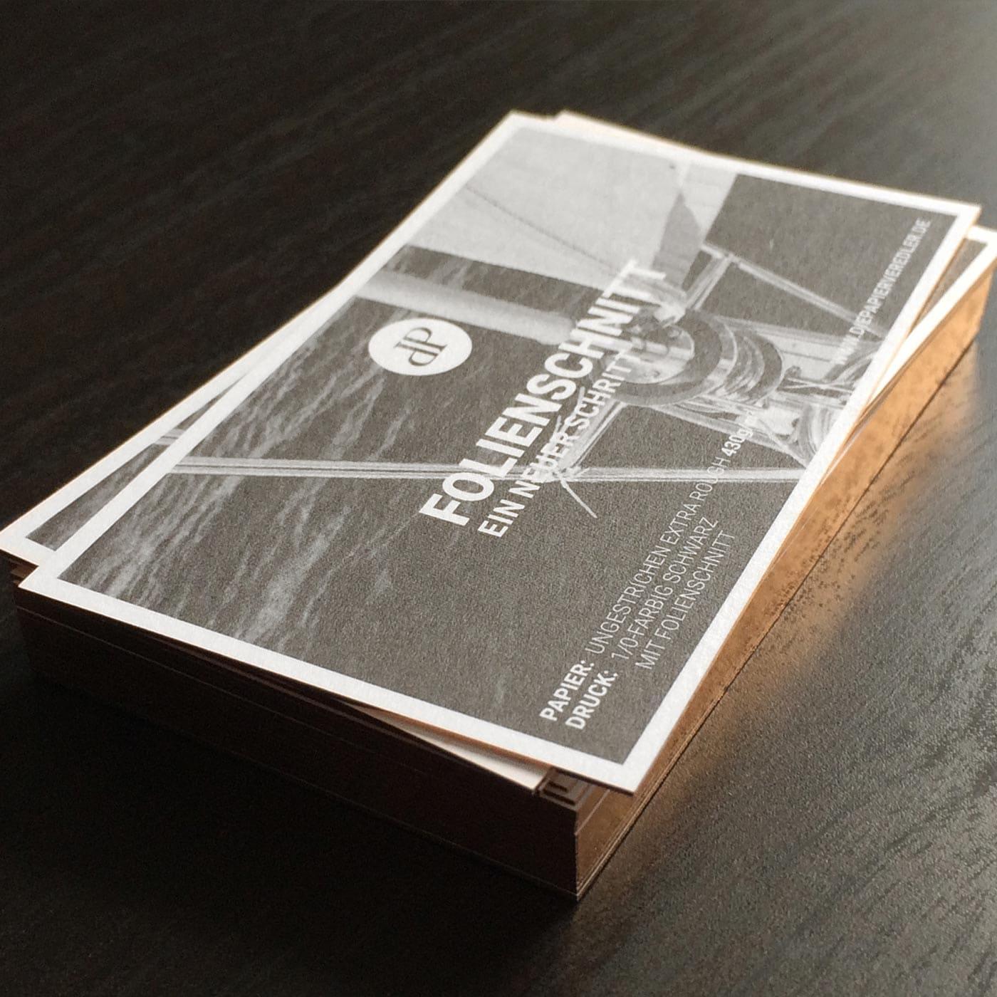 Visitenkarten Folienfarbschnitt champagner metallic