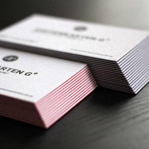 Sandwich Visitenkarten zweilagig kaschiert mit Sonderfarbe bedruckt