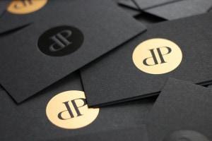 Visitenkarten mit schwarzem Karten mit Heißfolie bronze schwarz