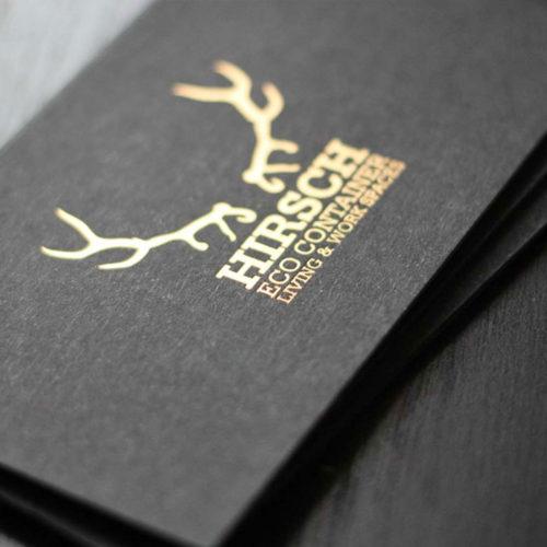 schwarze Visitenkarten mit bronze-matter Heißfolienprägung