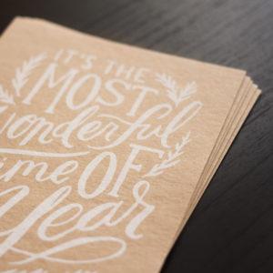 Les Naturals Karten Altpapier mit weißen Siebdruck