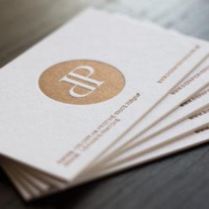 Letterpress Visitenkarten mit Sonderfarbe kupfer metallic uncoated