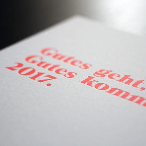 Letterpress Karten Compliment card mit neon Farbschnitt