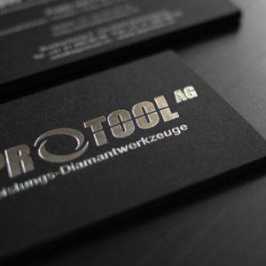Visitenkarten mit silber Heißfolienprägung metallic