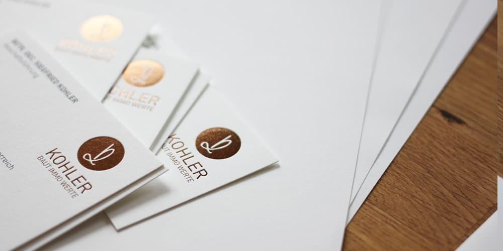 Folienprägung Businessset Kohler goldbraun Ausstattungspapier