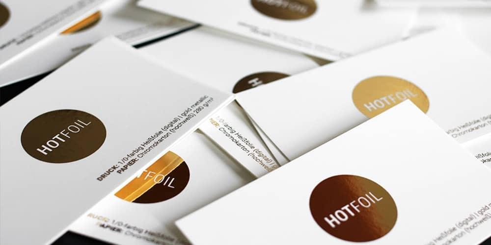 Chromokarton Visitenkarten mit Foliendruck gold