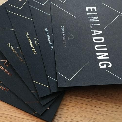 schwarze Karten mit metallic Folien