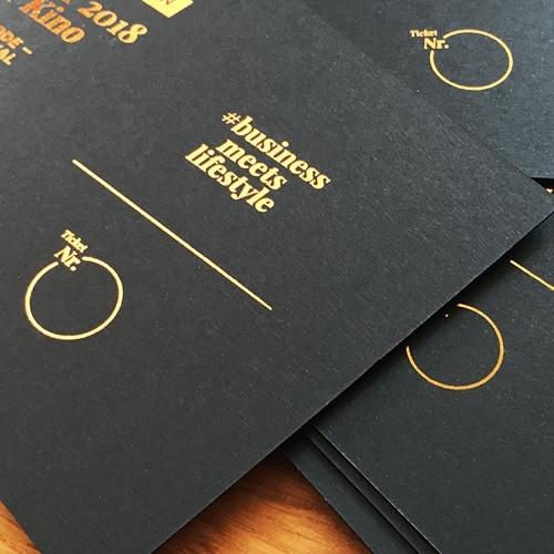 schwarze Karten mit Heißfolie kupfer metallic