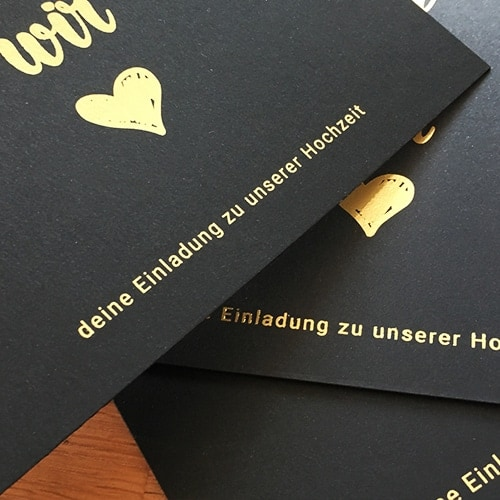 schwarze Karten mit Foliendruck gold matt