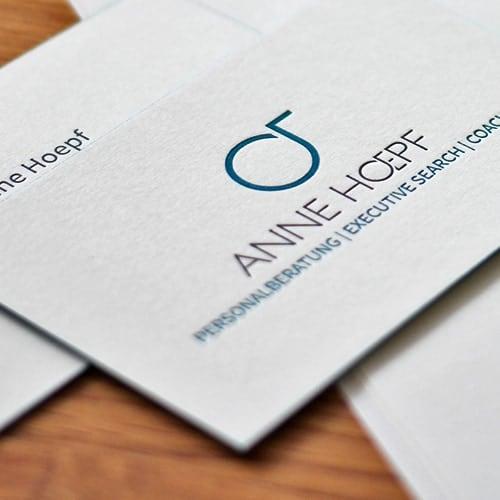 Letterpress Visitenkarten tief geprägt mit Sonderfarbe